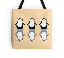 THREE PENGUINS ON ICE Tote Bag