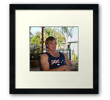 Justin- my grandson at Farewell BBQ Framed Print