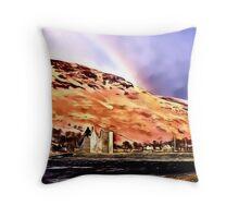 Lochranza Castle & Rainbow Throw Pillow