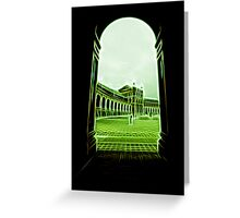 plaza de espana seville green neon lights Greeting Card