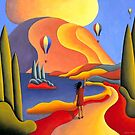 Dreamscape girl with balloons by lake by Alan Kenny