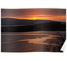 Sunset over distant hills Poster