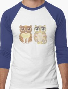 Friendly Dog and Big-Eyed Cat Men's Baseball ¾ T-Shirt