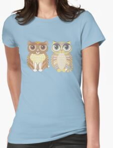 Friendly Dog and Big-Eyed Cat Womens Fitted T-Shirt