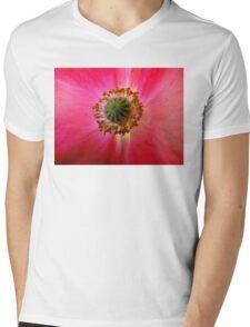Heart of a Red Poppy Mens V-Neck T-Shirt
