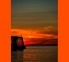 Sunrise and the wooden pier Unisex T-Shirt