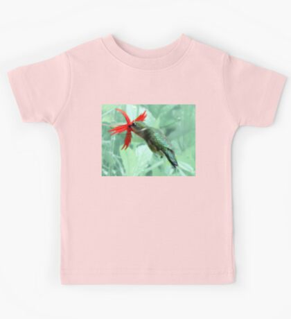 Ruby-throated Hummingbird Feeds On Fire Pink Kids Tee