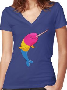 Pansexuwhale - no text Women's Fitted V-Neck T-Shirt