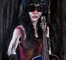 A New Sensation - painting of a female musician by Tom Conway
