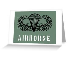 US airborne parawings black over white Greeting Card