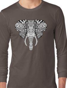 Mosaic Elephant: Black and White Long Sleeve T-Shirt