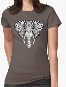 Mosaic Elephant: Black and White Womens Fitted T-Shirt