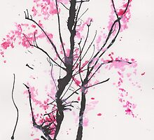 """Spring Half-Dreamed"" Cherry Tree or Crepe Myrtle Tree by ArtCreationist"