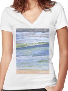 Weymouth Beach- Pencil Women's Fitted V-Neck T-Shirt