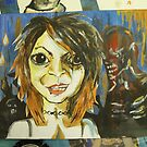 self portrait A4 with zombies by Gema Sharpe