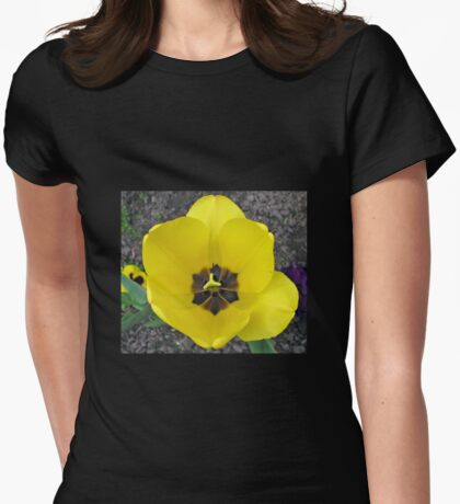 Yellow Tulip and Pansy Womens Fitted T-Shirt