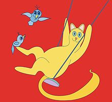 Cat On A Swing by Jean Gregory  Evans