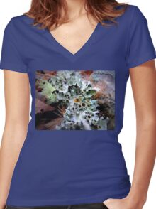 Stalked-cup Lichen Women's Fitted V-Neck T-Shirt