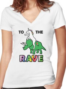 To The Rave! (Unicorn Riding Triceratops) Women's Fitted V-Neck T-Shirt