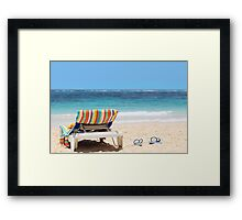 Tropical beach with chaise lounge at Maldives Framed Print