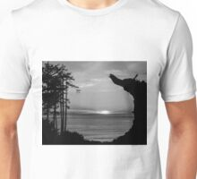 Sunset Over The Ocean And Driftwood In Black And White Unisex T-Shirt
