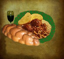 Wine And Pasta Still Life by Linda Miller Gesualdo