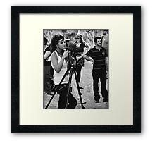 Girl Making A Video Framed Print