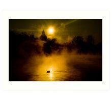 Misty Lake Art Print