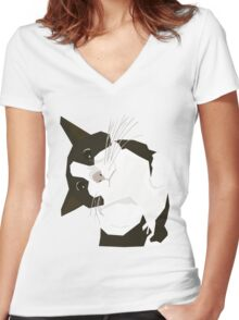 Hello Cat Women's Fitted V-Neck T-Shirt