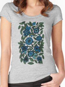 blue flowers Women's Fitted Scoop T-Shirt