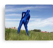 Blue Zentai in the Field 2 Canvas Print