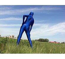 Blue Zentai in the Field 2 Photographic Print