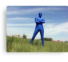 Blue Zentai in the Field 3 Canvas Print