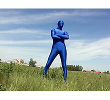 Blue Zentai in the Field 3 Photographic Print