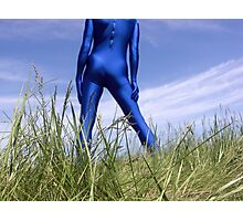 Blue Zentai in the Field 5 Photographic Print