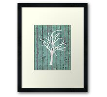 Blue Rustic Tree Framed Print