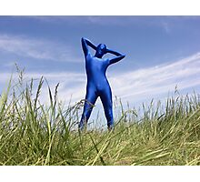 Blue Zentai in the Field 6 Photographic Print