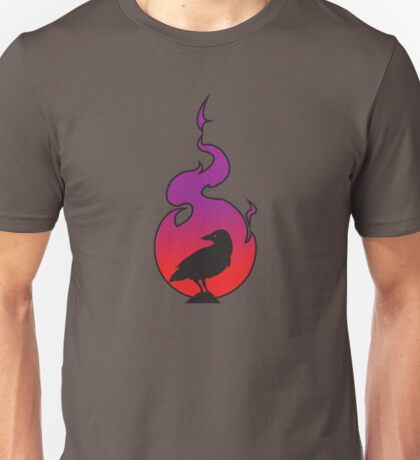 Crow In Sunset Flame Unisex T-Shirt