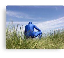 Blue Zentai in the Field 7 Canvas Print