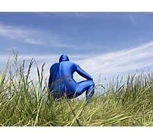 Blue Zentai in the Field 7 Photographic Print