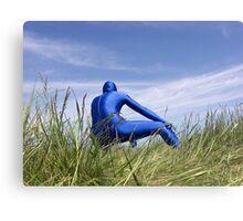 Blue Zentai in the Field 8 Canvas Print