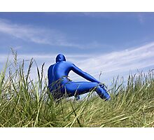 Blue Zentai in the Field 8 Photographic Print