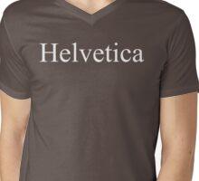 Helvetica (White-V) Mens V-Neck T-Shirt