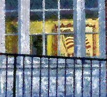 FLAG IN WINDOW by Jean Gregory  Evans
