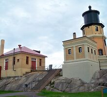 Split Rock Light House & Side Building by Diane Trummer Sullivan