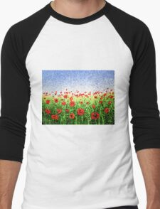 Red Poppy Field Abstract  Men's Baseball ¾ T-Shirt