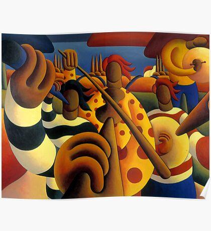 Soft  Musicians in landscape Poster