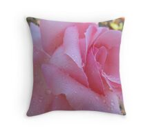 Drizzling Pink Rose Throw Pillow