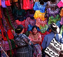 Textile Vendor at Solola Market, Guatemala by Maggie Woods