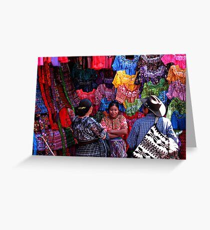 Textile Vendor at Solola Market, Guatemala Greeting Card